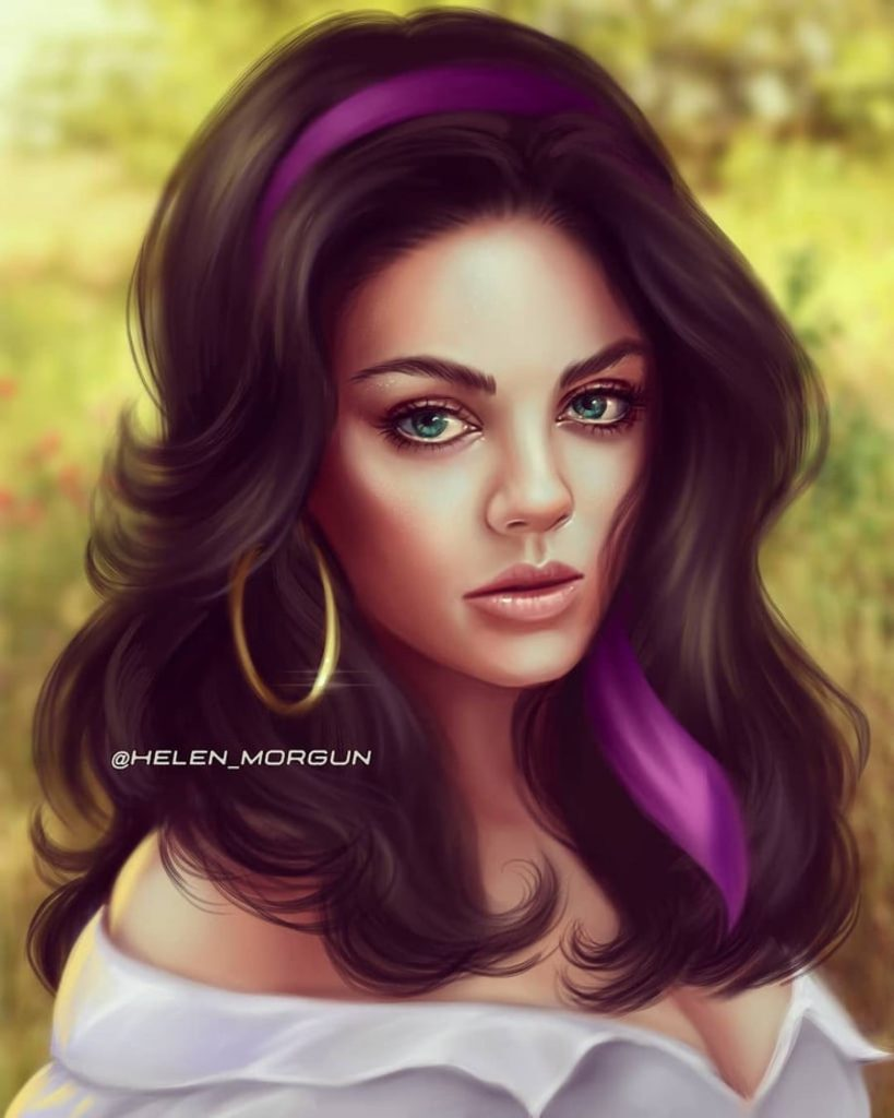 Esmeralda - Mila Kunis | Ukrainian Artist Reimagines Your Favorite Celebrities as Disney Princesses | Zestradar