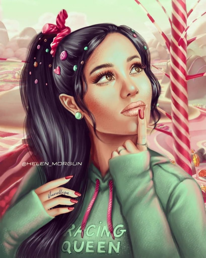 Vanellope - Ariana Grande | Ukrainian Artist Reimagines Your Favorite Celebrities as Disney Princesses | Zestradar