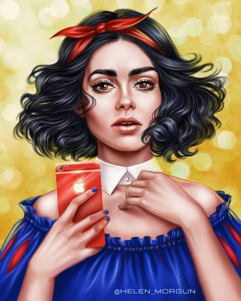 Snow White - Lily Collins | Ukrainian Artist Reimagines Your Favorite Celebrities as Disney Princesses | Zestradar