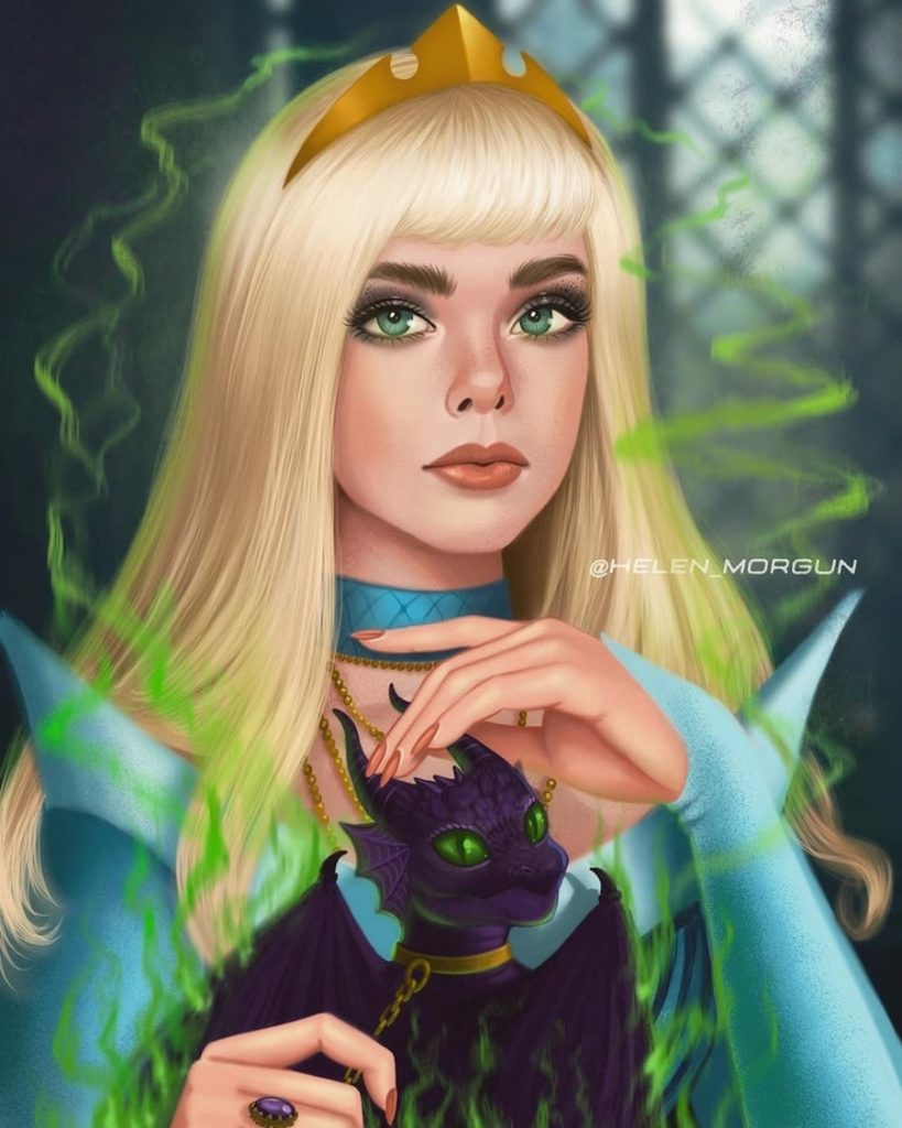 Aurora - Elle Fanning   | Ukrainian Artist Reimagines Your Favorite Celebrities as Disney Princesses | Zestradar