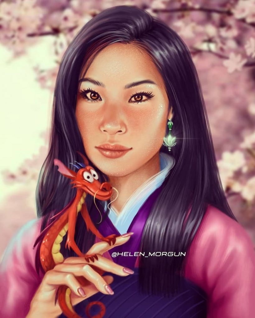 Mulan - Lucy Liu | Ukrainian Artist Reimagines Your Favorite Celebrities as Disney Princesses | Zestradar