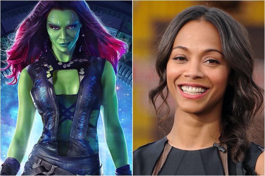 Zoe Saldana - Gamora | 10 Actors Behind The Fantastic Looking Marvel Characters | Zestradar