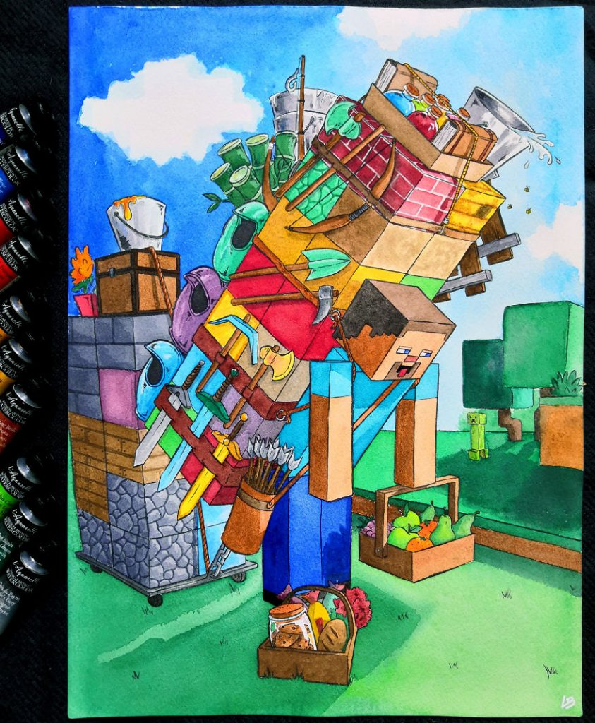 French Artist Shows Video Game Characters' Overwhelming Inventory! #8 | Brain Berries