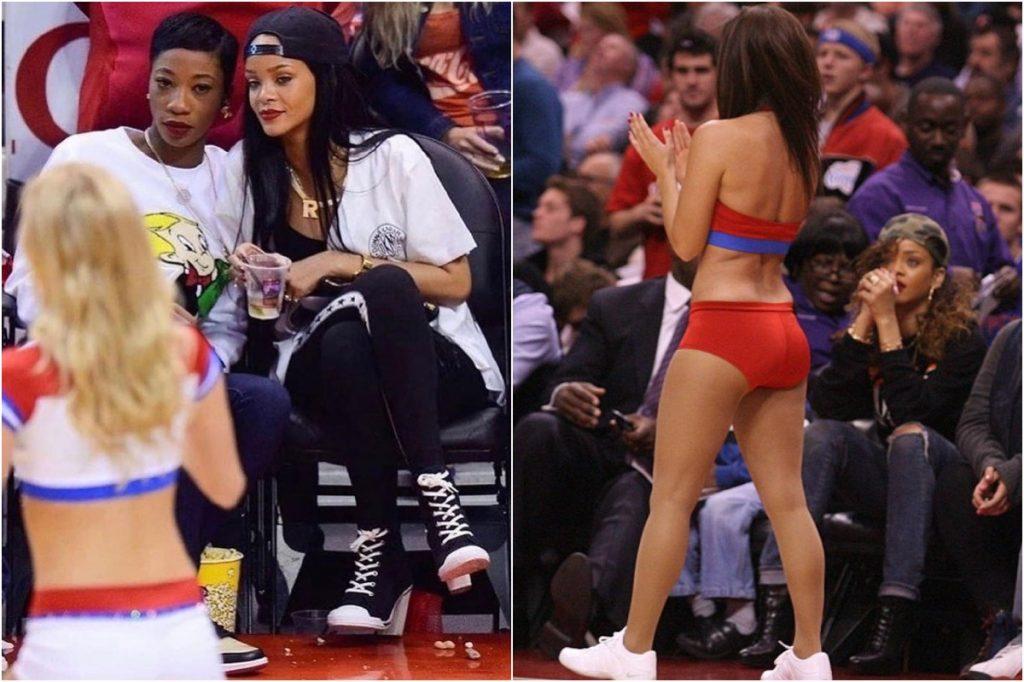 Rihanna   Celebrities Gawking At Cheerleaders   Zestradar