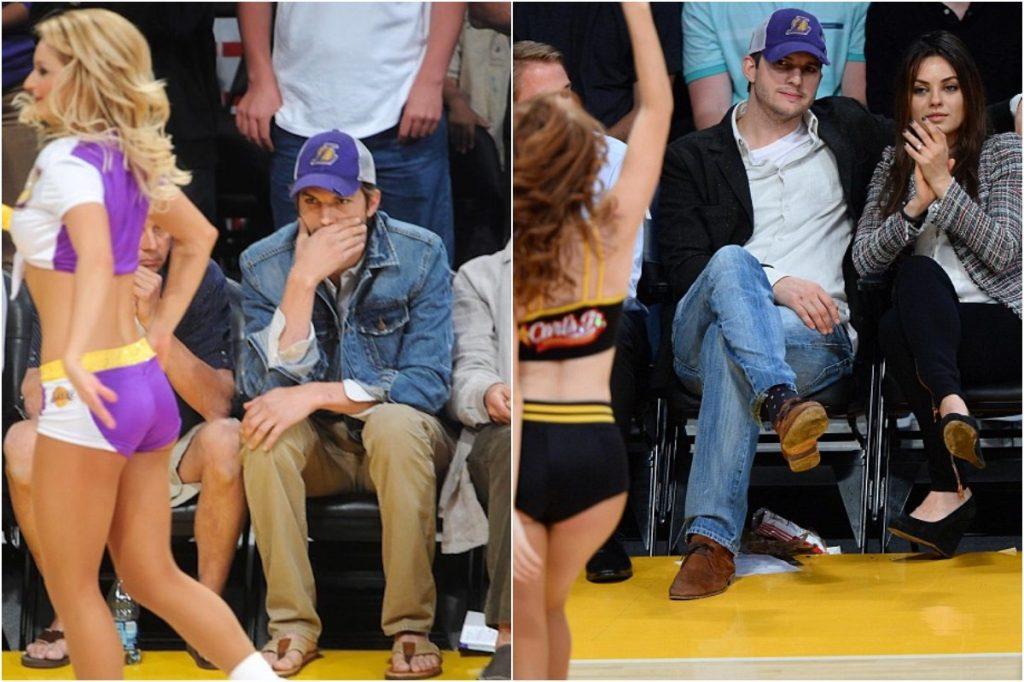 Ashton Kutcher   Celebrities Gawking At Cheerleaders   Zestradar