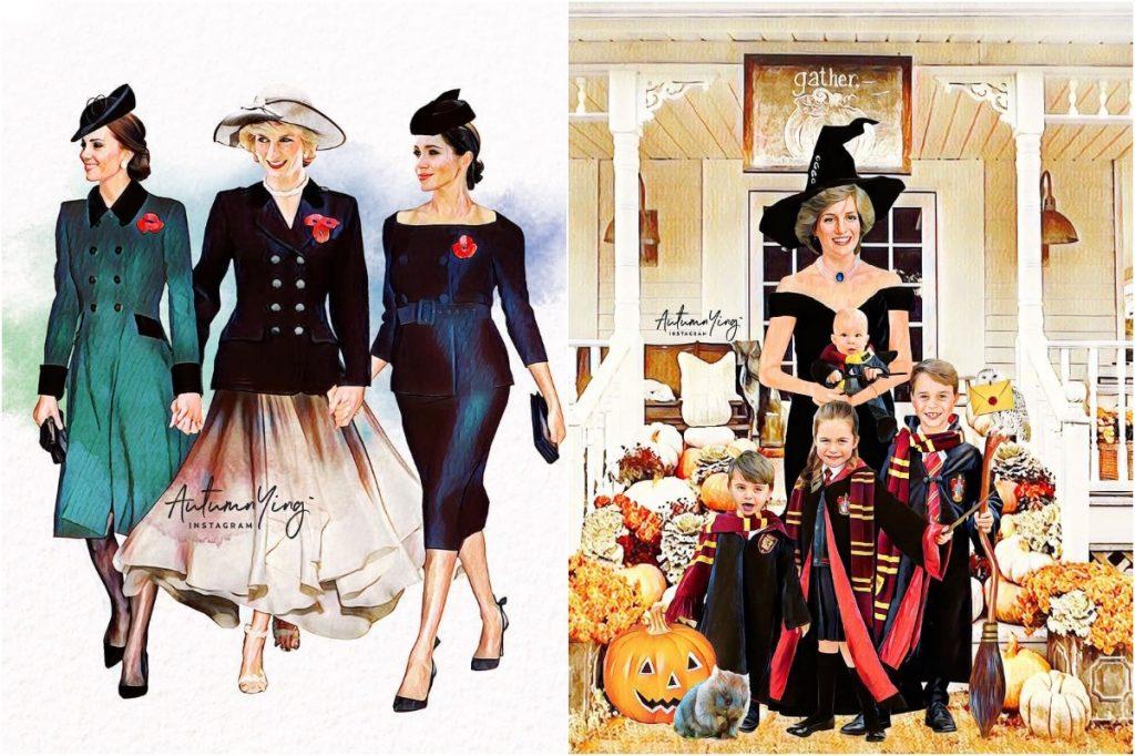 #6 | Unreal Royal Family Illustrations With Princess Diana | Zestradar